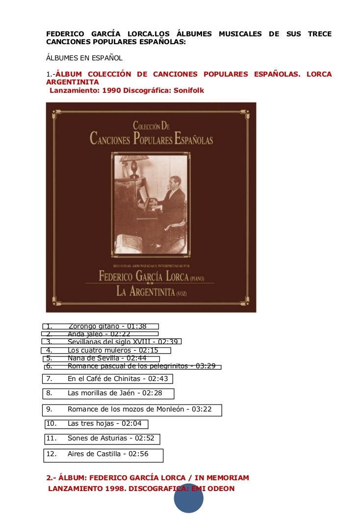 FEDERICO GARCÍA LORCA.LOS ÁLBUMES                   MUSICALES   DE   SUS   TRECECANCIONES POPULARES ESPAÑOLAS:ÁLBUMES EN E...