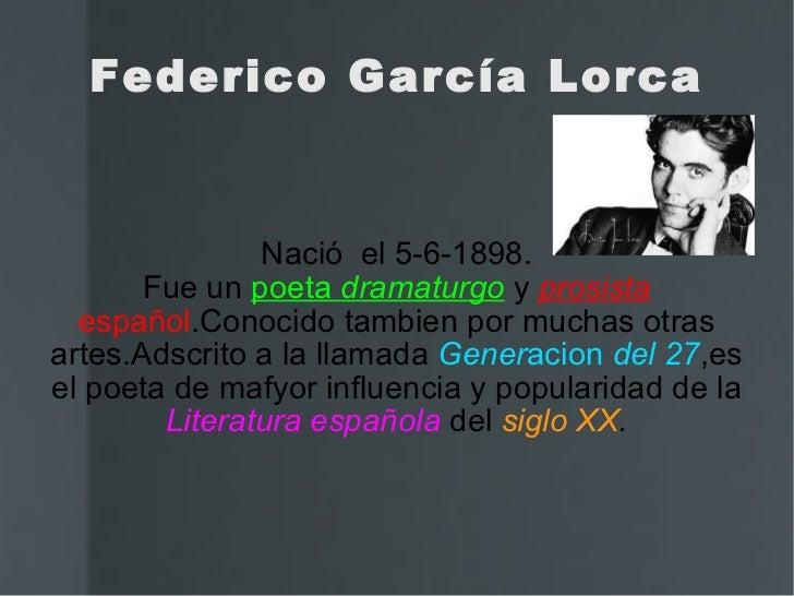 Nació  el 5-6-1898. Fue un  poeta  dramaturgo   y  prosista   español .Conocido tambien por muchas otras artes.Adscrito a ...