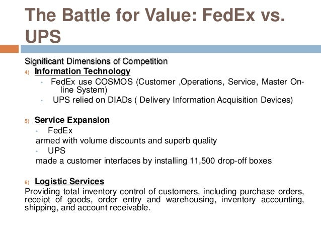 fedex ups battle for value I executive summaryin this report we focus on the two main competitors in the package delivery industry: federal express corporation (fedex) and united parcel service of america, incstudying fedex, ups and their competitive relationship in the decade.
