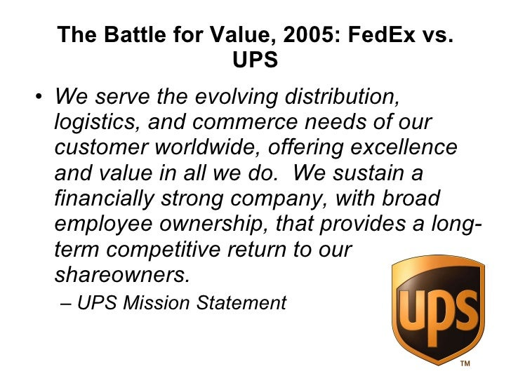 battle for value 2004 fedex corp vs united parcel solution inc Fedex vs ups fedex corp versus united parcel service of america inc: who will deliver returns from china fedex corp versus united parcel service of america, inc: who will deliver returns from china fedex and ups-the war continues fedex in the chinese express delivery market: face-off in the forbidden city fedex in the chinese express delivery market: face-off in the forbidden city sales.