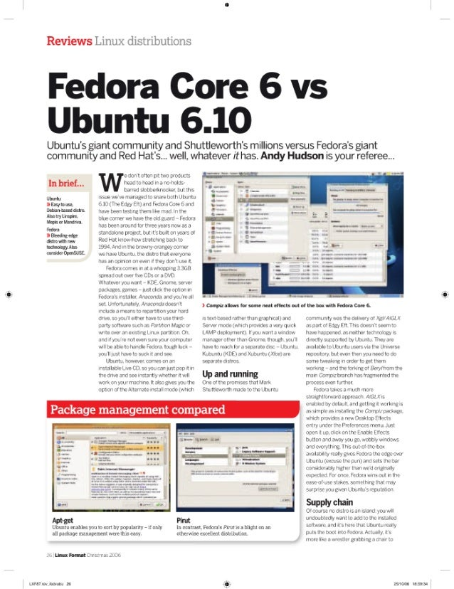 Reviews i. in; i>. : <'li; ':riliiilions  Fedora Core 6 vs Ubuntu 6.10  Ubuntu's giant community and Shuttleworth's millio...