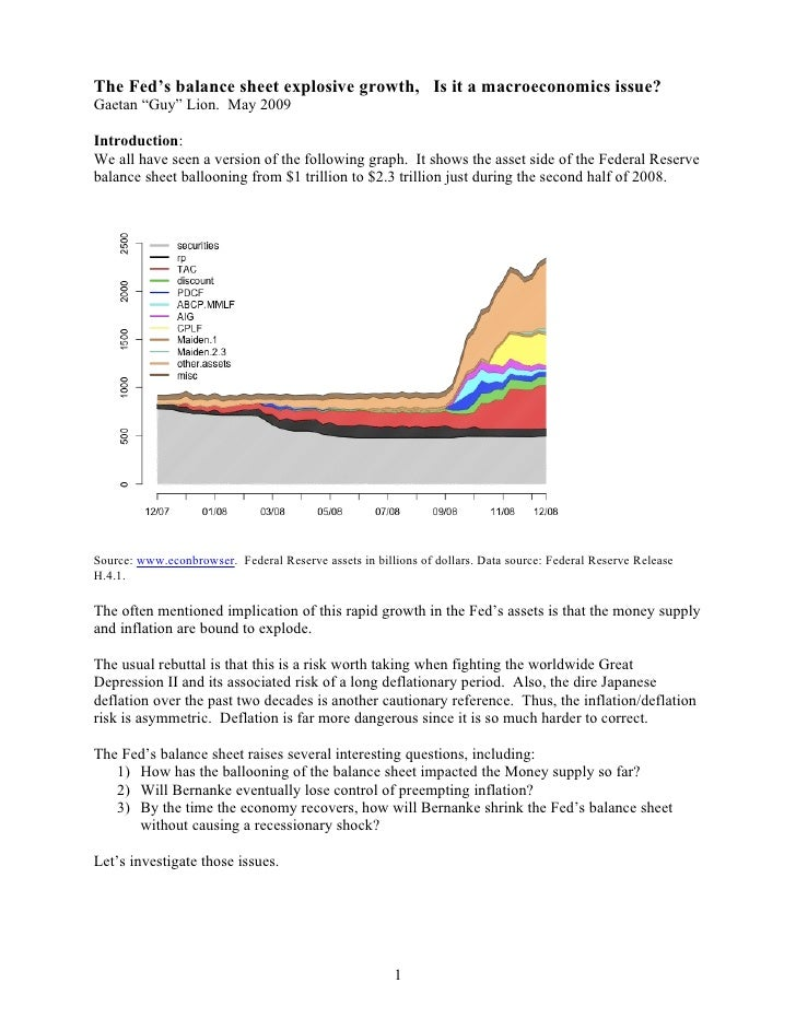 "The Fed's balance sheet explosive growth, Is it a macroeconomics issue? Gaetan ""Guy"" Lion. May 2009  Introduction: We all ..."