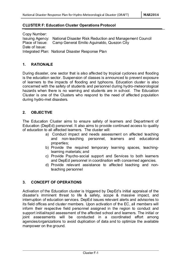 National Disaster Response Plan for Hydro-Meteorological Disaster (DRAFT) MAR2014 CLUSTER F: Education Cluster Operations ...