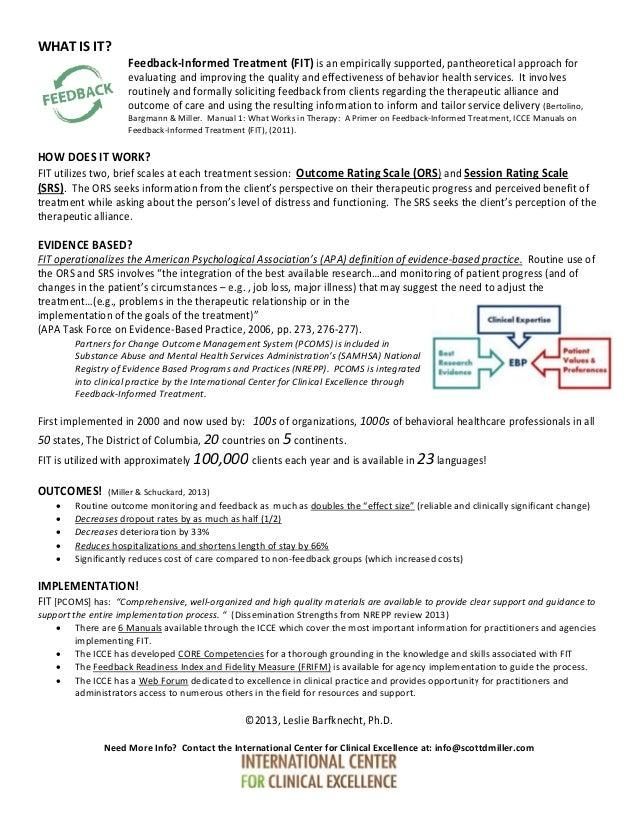 Feedback informed treatment 2013
