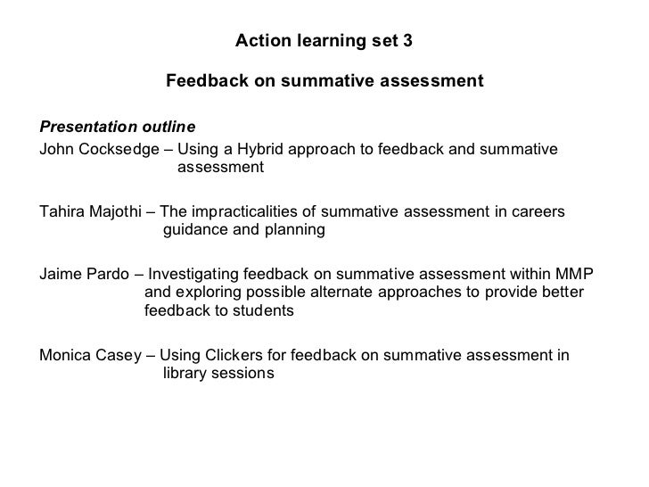 Feedback on summative assessment group pres