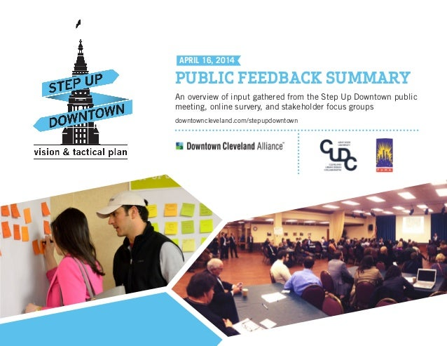 An overview of input gathered from the Step Up Downtown public meeting, online survery, and stakeholder focus groups downt...