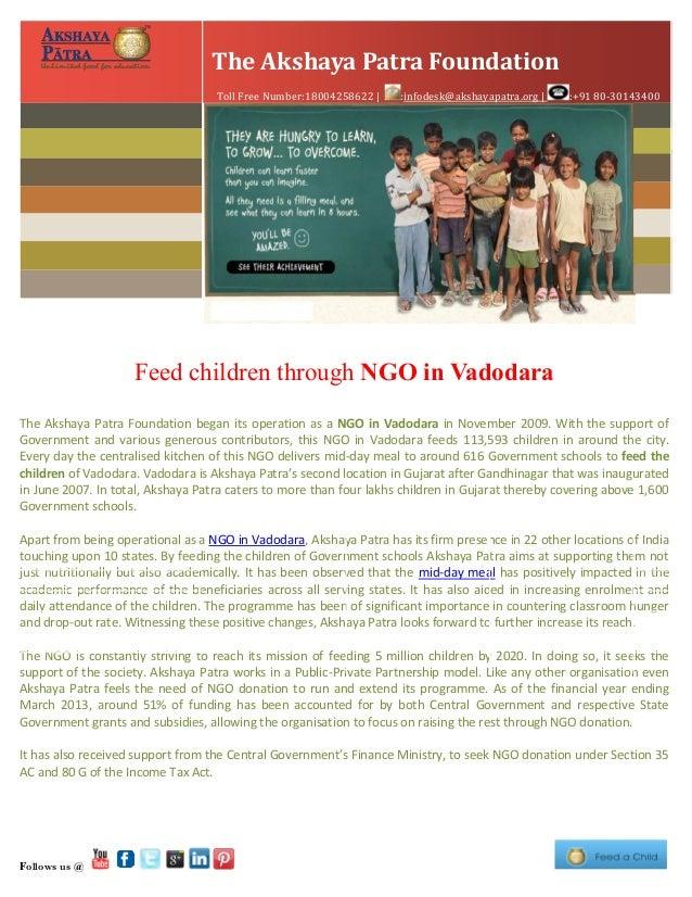 Feed children through ngo in vadodara