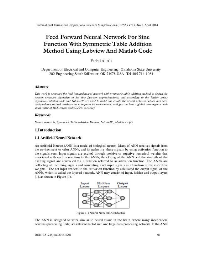 Feed forward neural network for sine