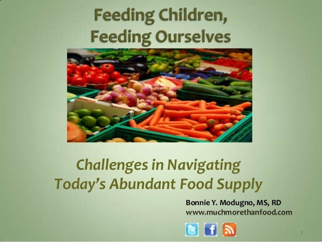 Challenges in NavigatingToday's Abundant Food Supply                 Bonnie Y. Modugno, MS, RD                 www.muchmor...