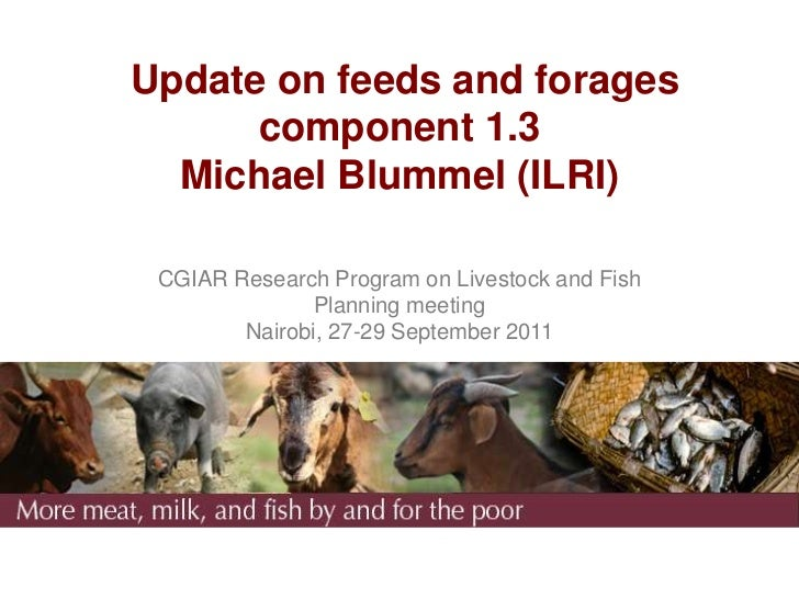 Update on feeds and forages      component 1.3  Michael Blummel (ILRI) CGIAR Research Program on Livestock and Fish       ...