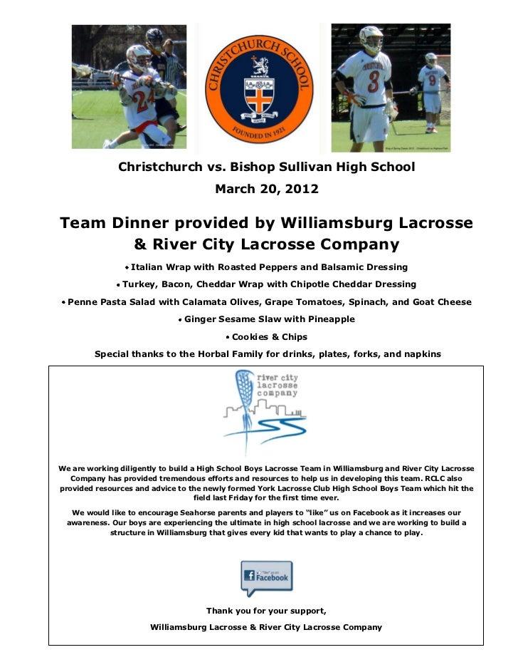 Christchurch vs. Bishop Sullivan High School                                        March 20, 2012Team Dinner provided by ...