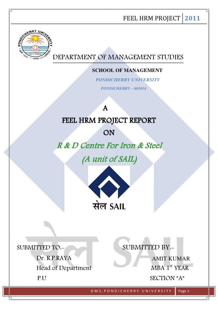 FEEL HRM PROJECT 2011            DEPARTMENT OF MANAGEMENT STUDIES                          SCHOOL OF MANAGEMENT           ...