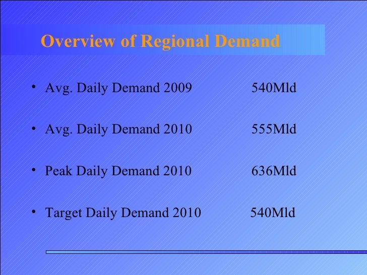 Overview of Regional Demand <ul><li>Avg. Daily Demand 2009 540Mld  </li></ul><ul><li>Avg. Daily Demand 2010  555Mld </li><...