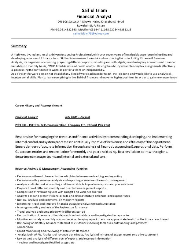 resume financial analyst