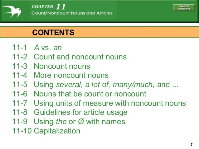 CONTENTS11-1 A vs. an11-2 Count and noncount nouns11-3 Noncount nouns11-4 More noncount nouns11-5 Using several, a lot of,...