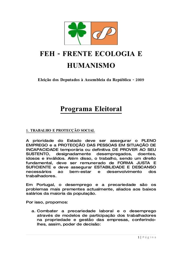 FEH   Frente Ecologia e Humanismo   Programa Eleitoral   Eleição Deputados à Assembleia da República   2009