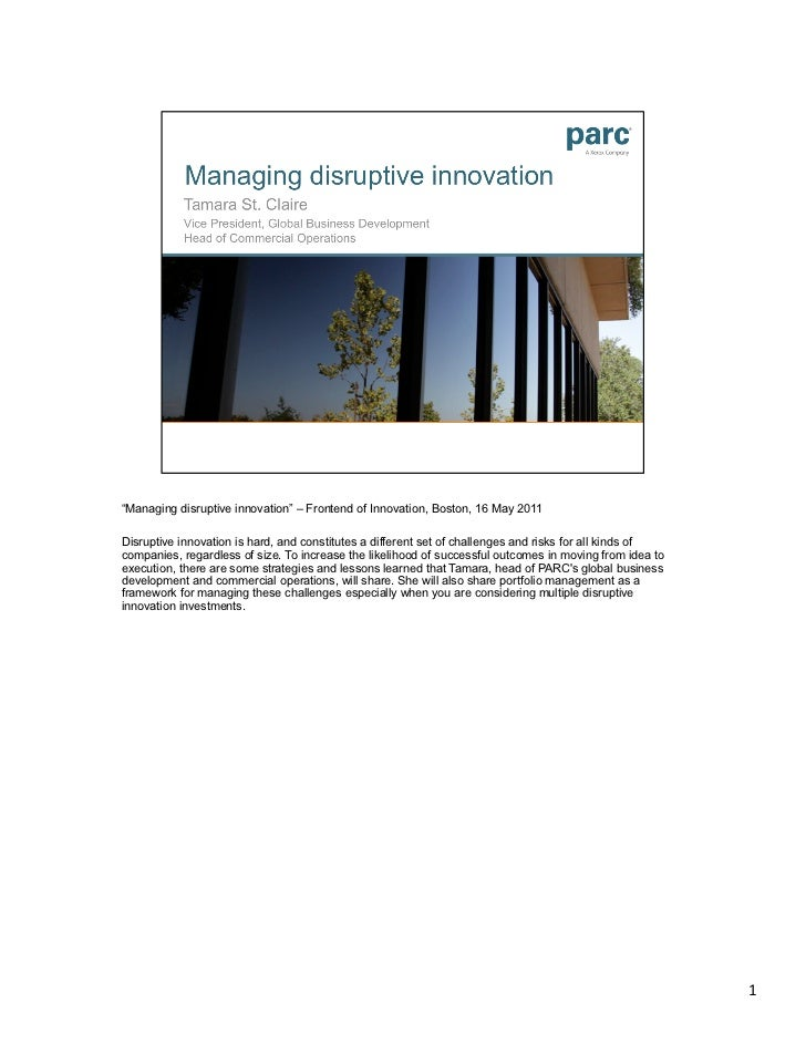 Managing disruptive innovation