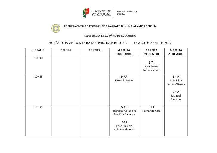 AGRUPAMENTO DE ESCOLAS DE CAMARATE D. NUNO ÁLVARES PEREIRA                               SEDE: ESCOLA EB 2,3 MÁRIO DE SÁ C...