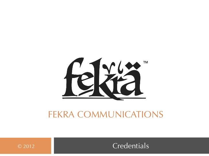 Fekra Credentials 2012   Final