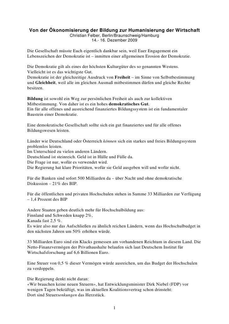 Von der Ökonomisierung der Bildung zur Humanisierung der Wirtschaft                        Christian Felber, Berlin/Brauns...
