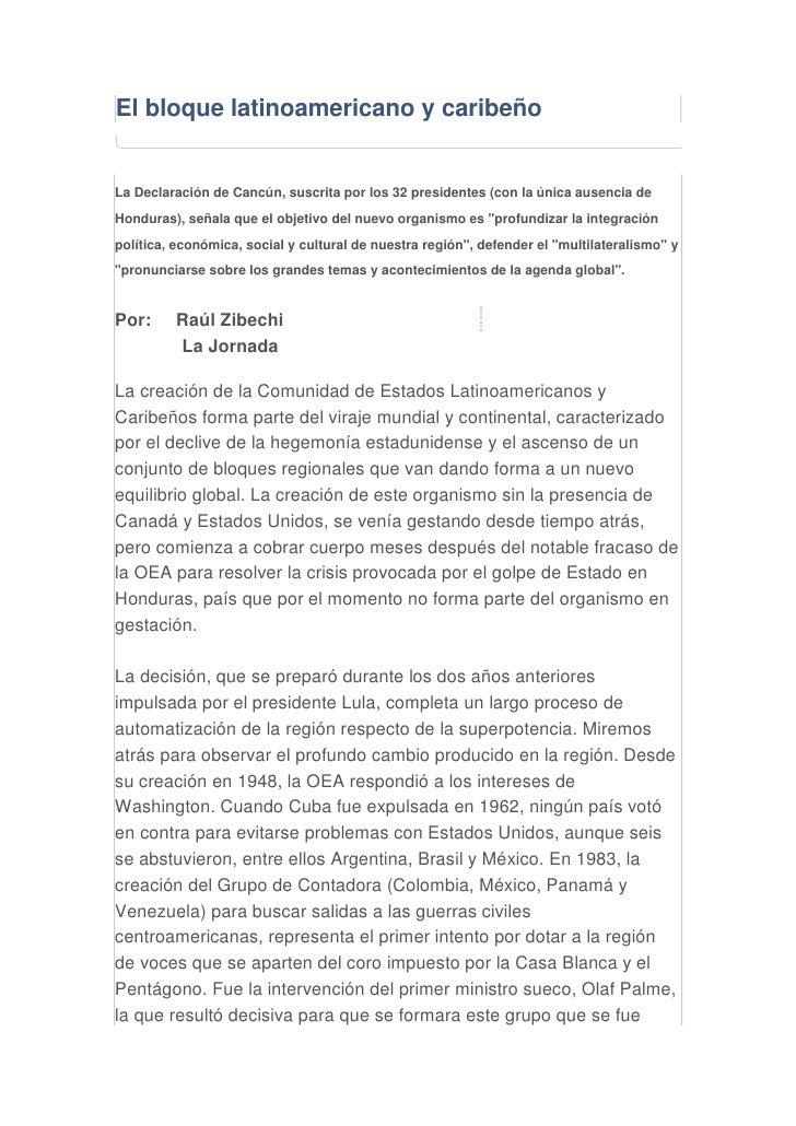 El Bloque Latinoamericano Y CaribeñO