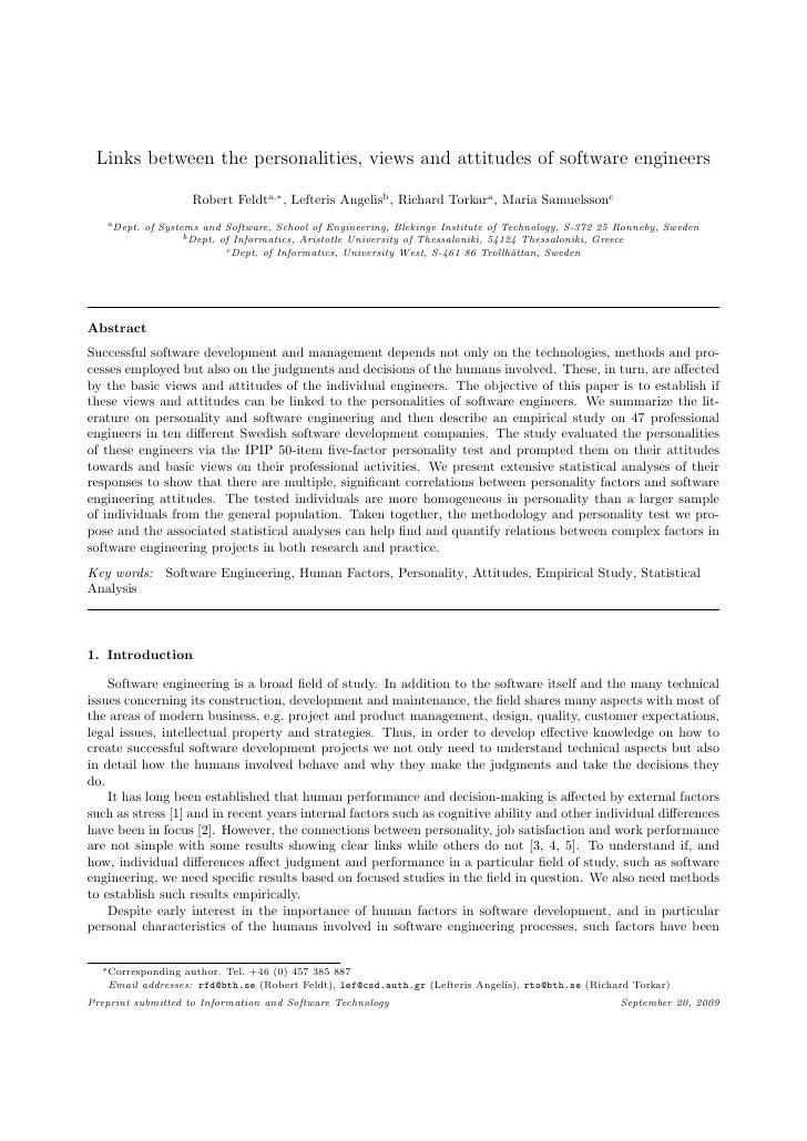 Links between the personalities, views and attitudes of software engineers                        Robert Feldta,∗ , Lefter...