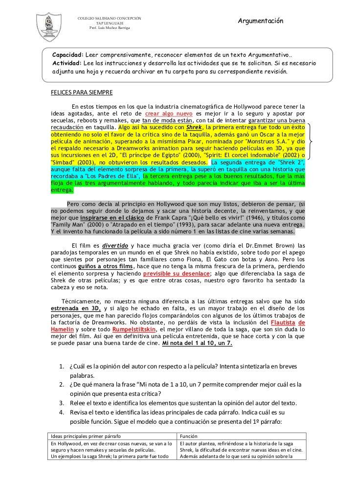 Argumentación            COLEGIO SALESIANO CONCEPCIÓN                     TAP LENGUAJE                 Prof. Luis Muñoz Ba...