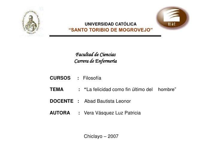"""UNIVERSIDAD CATÓLICA<br />""""SANTO TORIBIO DE MOGROVEJO""""<br />Facultad de Ciencias<br />Carrera de Enfermería<br />         ..."""