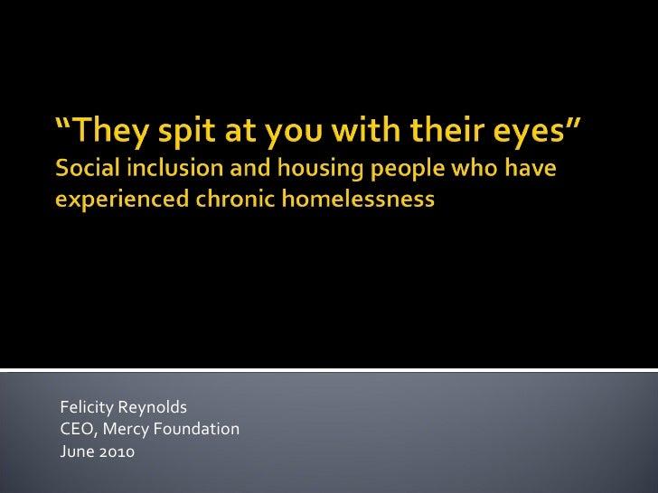 Felicity Reynolds CEO, Mercy Foundation June 2010