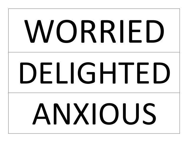WORRIED DELIGHTED ANXIOUS