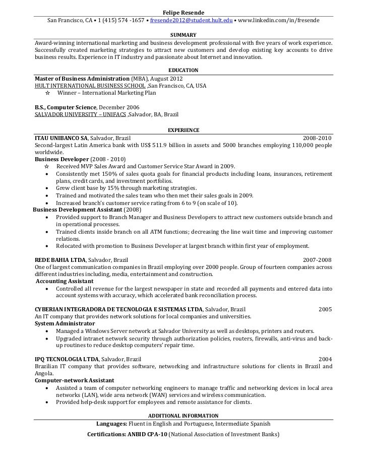 One-page resume for download