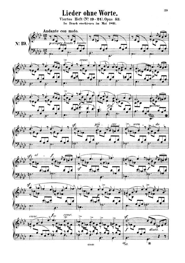 Felix mendelssohn   romances sans paroles - 6 pieces - op. 53