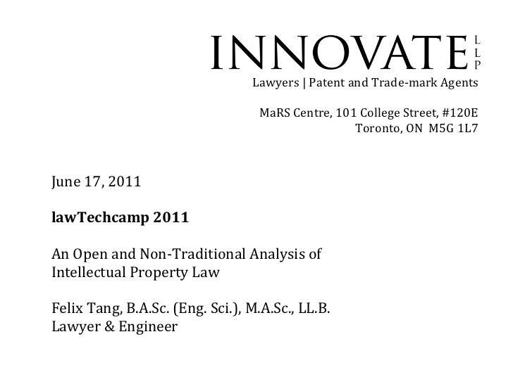 Felix Tang Innovate LLP lawTechCamp