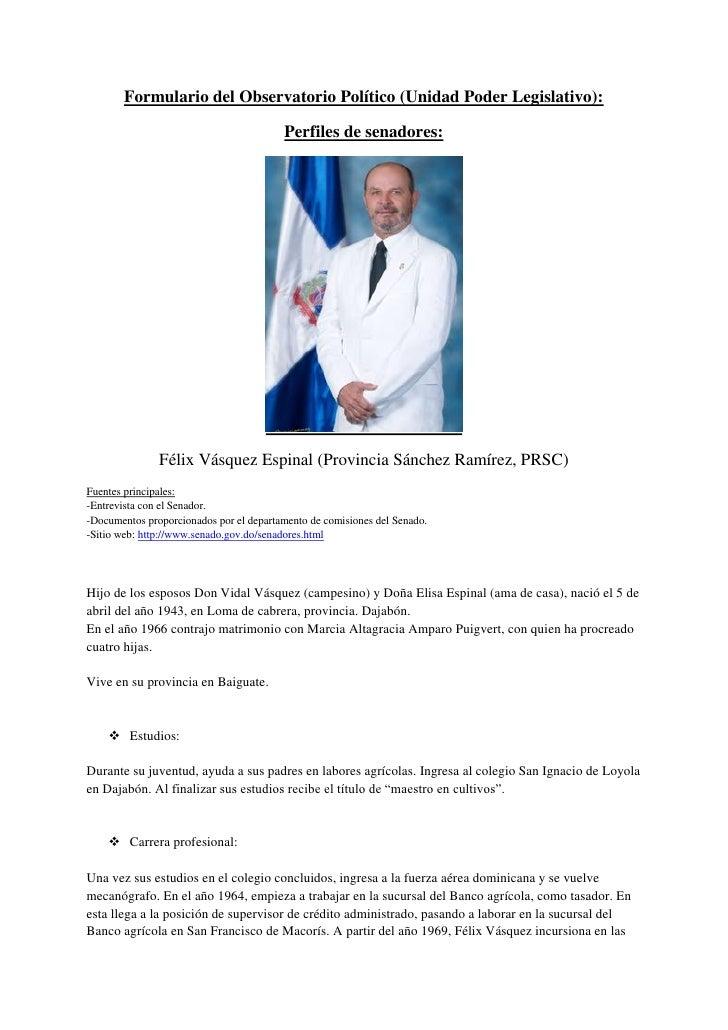 Formulario del Observatorio Político (Unidad Poder Legislativo):                                           Perfiles de sen...
