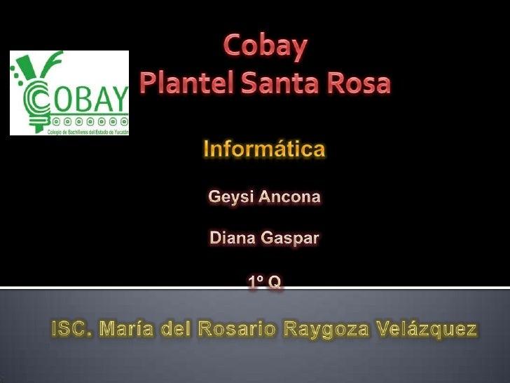 Cobay<br />Plantel Santa Rosa<br />InformáticaGeysi AnconaDiana Gaspar1º QISC. María del Rosario Raygoza Velázquez <br />