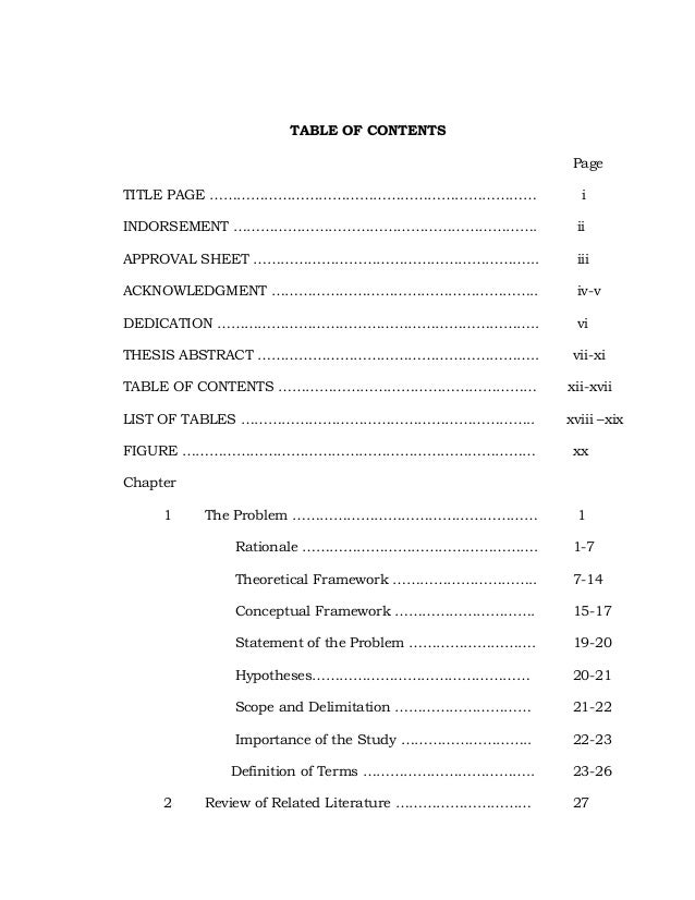 table of contents of a master thesis Failure to comply with all thesis specifications and requirements for both master's theses and doctoral dissertations table of contents.
