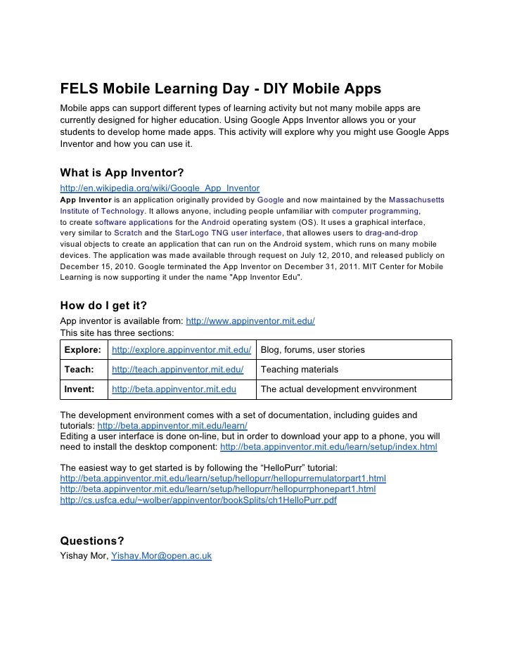 FELS Mobile Learning Day - DIY Mobile AppsMobile apps can support different types of learning activity but not many mobile...