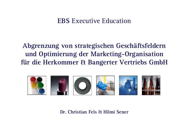 Dr. Fels & Sener  EBS Executive Education Abgrenzung von strategischen Geschäftsfeldern und Optimierung der Marketing-Orga...