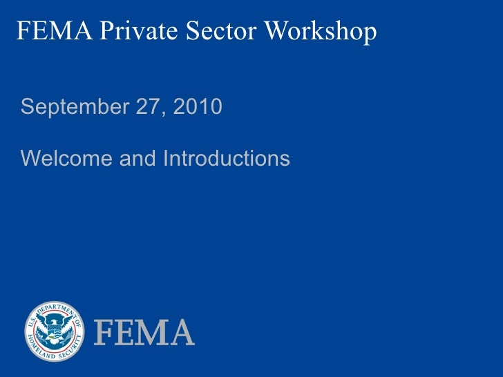 FEMA Private Sector Workshop