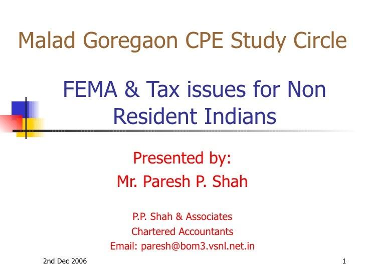 Fema and tax issues nri