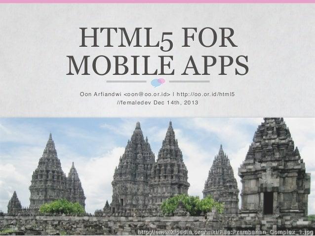 FemaleDev -- HTML5 Mobile Apps