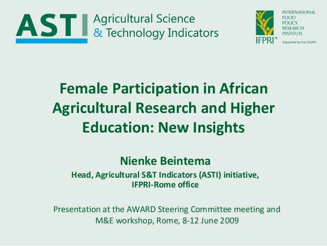 Female participation in African agricultural research and higher education