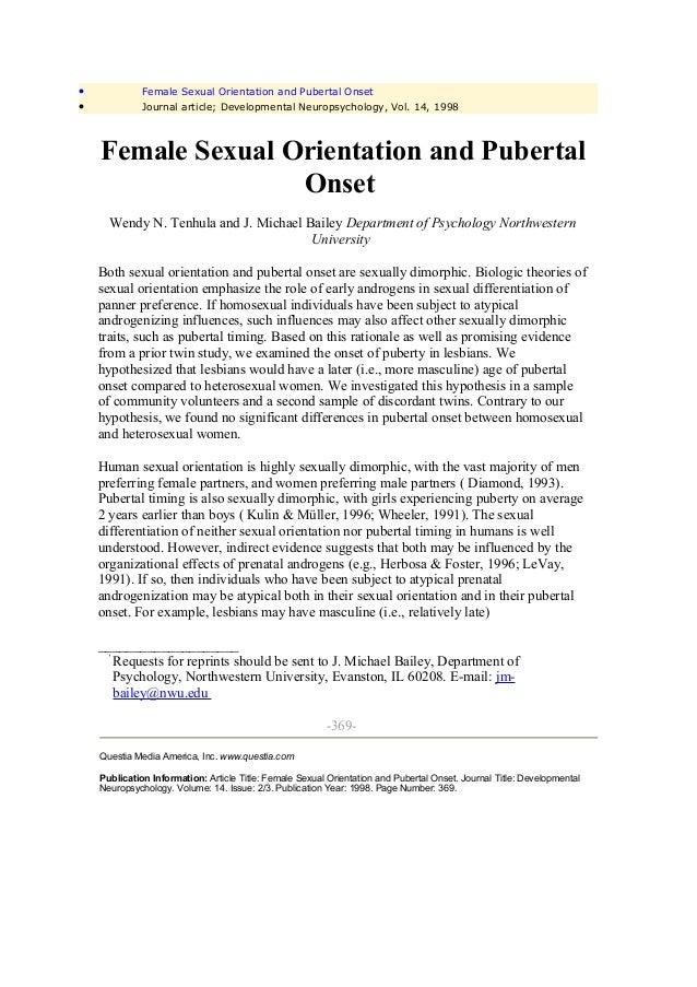 •             Female Sexual Orientation and Pubertal Onset•             Journal article; Developmental Neuropsychology, Vo...