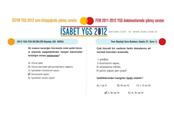 ÖSYM 2012 YGS Biyoloji Soruları