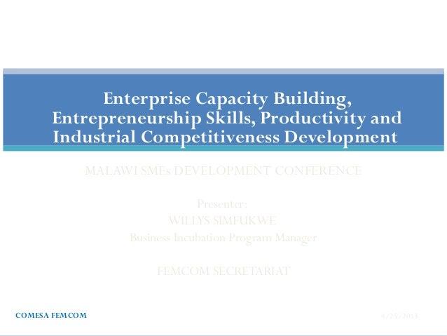 MALAWI SMEs DEVELOPMENT CONFERENCEPresenter:WILLYS SIMFUKWEBusiness Incubation Program ManagerFEMCOM SECRETARIAT4/25/2013C...