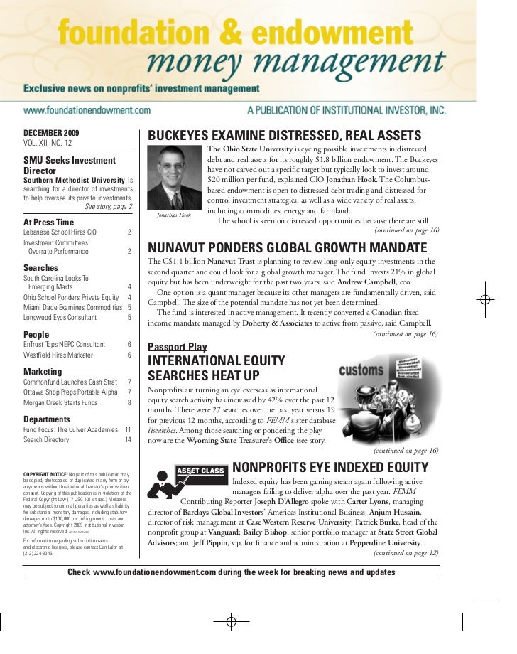 Foundation & Endowment Money Magazine 11-30-2009
