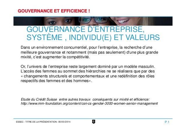 ESSEC GOUVERNANCE ET EFFICIENCE ! GOUVERNANCE D'ENTREPRISE, SYSTÈME , INDIVIDU(E) ET VALEURS P.1- TITRE DE LA PRÉSENTATION...