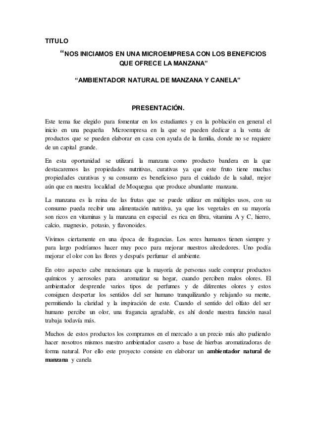 """TITULO """"NOS INICIAMOS EN UNA MICROEMPRESA CON LOS BENEFICIOS QUE OFRECE LA MANZANA"""" """"AMBIENTADOR NATURAL DE MANZANA Y CANE..."""