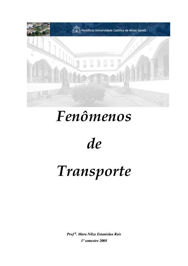 Fenômenos de Transporte PPrrooff aa .. MMaarraa NNiillzzaa EEssttaanniissllaauu RReeiiss 11ºº sseemmeessttrree 22000088