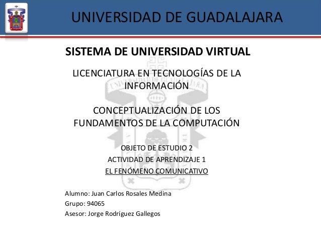 UNIVERSIDAD DE GUADALAJARA SISTEMA DE UNIVERSIDAD VIRTUAL LICENCIATURA EN TECNOLOGÍAS DE LA INFORMACIÓN CONCEPTUALIZACIÓN ...